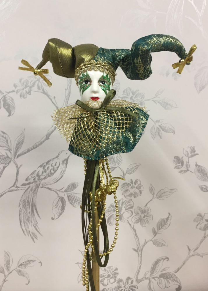 Mardis Gras Jester Ornament On Stick ~ Party Decoration ~ GREEN G